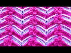 Punto a crochet FLORES ROCOCO combinado con puntos ZIG ZAG para Suéteres y bufandas - YouTube
