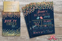 Custom Bachelorette Party Invitation  | Navy, Coral, and Gold Design on Etsy, $2.80