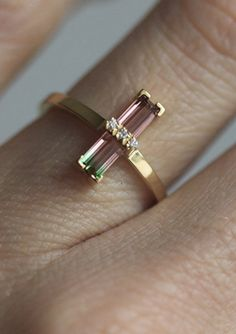Watermelon Tourmaline & Diamond Ring | MinimalVS on Etsy