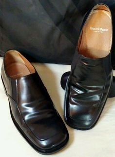 Bacco Bucci Mens Black Leather Italian Loafers 9 1/2 Italy slip-ons Dress Shoes #BaccoBucci #LoafersSlipOns