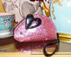 Betsey Johnson RARE Handbag PINK GLITTER Jelly Coated MOUSE Rat WRISTLET Bag #BetseyJohnson #TotesShoppers