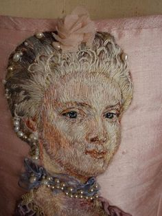 baroque, hand embroideri, art paintings, corsets, marie antoinette, portrait embroidery, embroidery portrait, mari antoinett, embroid silk