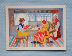 Mint postcard by Aina Stenberg/ mother and kids knitting weaving w loom/ swedish interior house scene/ scandanavian design decor/