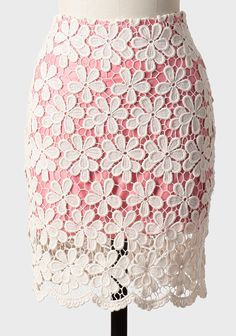 Ruche pink pencil skirt with white floral crochet lace overlay Pink Pencil Skirt, Pencil Skirt Work, Pencil Skirts, Crochet Skirts, Crochet Clothes, Dress Skirt, Lace Skirt, Coral Skirt, Dress Lace