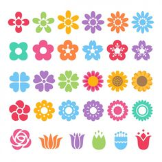set of colorful flower decorative flat icons on white background. Flat Icons, Fake Tattoos, Temporary Tattoos, Stencil, Unicorn Tattoos, Bee Tattoo, Tattoo Shows, Hippie Festival, Seashell Crafts