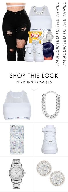 """""""'' I'm addicted to the thrill ''"""" by blessed-and-well-dressed ❤ liked on Polyvore featuring Tommy Hilfiger, BaubleBar, Casetify, NIKE, Chopard, Frederic Sage and Unicorn Lashes"""