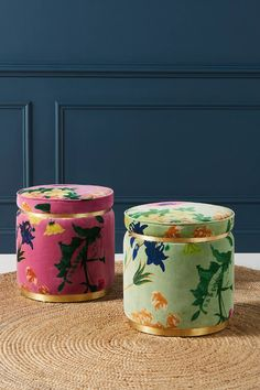 Velvet Floret Stool | Anthropologie