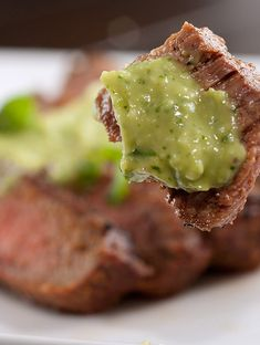Grilled Steak with Avocado Sauce (avocado, cilantro, lime, white wine, garlic)