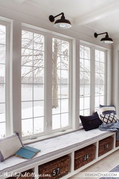 Lake House Sun Room Window Seat Decorated In Classic Blue And White  Including Ticking Fabric. Space Decor By Great Window Bench With Basket  Storage!