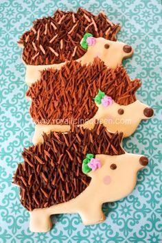 Hedgehog Cookies - Royal Icing Queen