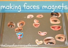 The Iowa Farmer's Wife: Making Faces Magnets Easy and free quiet activity. Would be great for trips in the car. Also could be used for social emotional development activities. Cookie Sheet Activities, Learning Activities, Preschool Activities, All About Me Activities For Toddlers, All About Me Preschool Theme, Quiet Time Activities, Do It Yourself Baby, Emotional Development, Toddler Development