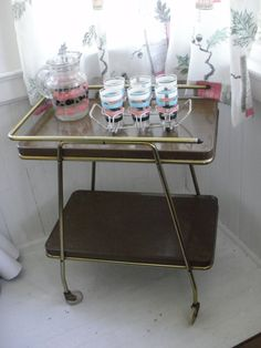 Your place to buy and sell all things handmade Vintage Decor, Vintage Designs, Retro Vintage, Kitchen Carts, Vintage Bar Carts, Rolling Bar, Take Apart, Metal Shelves, Mid-century Modern