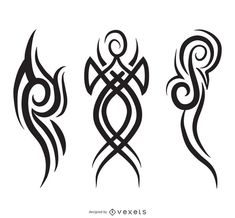 Three pinstripe illustrations and tribal designs in black over white. Abstract i. - Three pinstripe illustrations and tribal designs in black over white. Tribal Pattern Tattoos, Tribal Tattoos, Free Vector Graphics, Vector Art, Vector Icons, Side Tattoos, Wolf Tattoos, Tribal Wings, Tattoo Grafik
