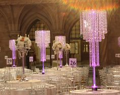Crystal Table Chandeliers - Royal Courts of Justice from Essential Wedding Event HIre.