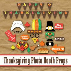 Thanksgiving Photo Booth Props and Decorations - Printable Props and Banner - Over 40 Images - PDF - Jpeg - Digital Download- INSTaNT DOWNLoAD  PLEASE