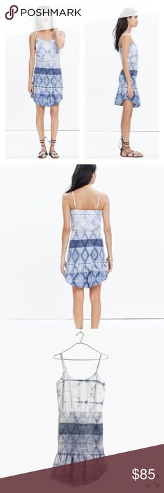 """NWT Madewell Smocked Cami Dress Call us obsessed with the hand-done shibori technique (think Japanese tie-dye) used to create this graphic indigo pattern. In a flattering half-ruched, half-blousey cami, this dress looks great solo or paired with a denim jacket on chilly nights. INCREDIBLE dress - sold out for a reason!! 🎉 ⭐️Amazing fabric and pattern, super light, comfy, uniquely flattering! ⭐️Waisted. ⭐️Falls 31 3/4"""" from highest point of bodice. ⭐️Cotton. Madewell Dresses"""
