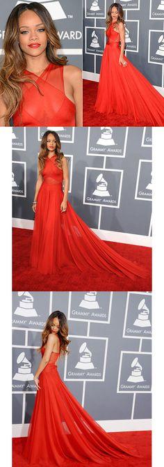 Rihanna looks amazong in a custom Azzedine Alaia gown that had a beautiful criss-cross top and dramatic train. #fashion