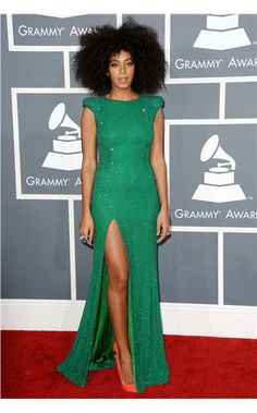Solange Knowles in this green Ralph & Russo