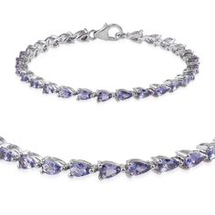 Tanzanite (Pear) Bracelet in Platinum Overlay Sterling Silver Nickel Free (6.50 In) TGW 5.000 cts.