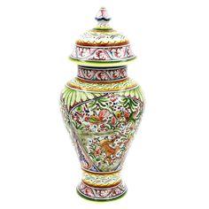 Coimbra Ceramics Hand-painted Decorative Covered Jar XVII Century Recreation #915