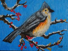 pallette knife paintings of birds | Palette knife painting of Cardinal bird by deepasampath86