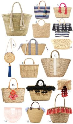 "Have you noticed the straw bag is the ""it bag"" for the season? I absolutely love this natural look whether it's a tote, beach bag or cute little clutch. Not to mention all the different types of… Summer Bags, Summer Diy, Spring Bags, Summer Wear, Sacs Tote Bags, Best Beach Bag, Diy Sac, Boho Bags, Bohemian Bag"