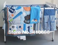 Online Shop Blue Base Ball Sports Boy Baby Crib Bedding set Embroidered Comforter Bumpers Sheet Nappy bag Blanket for babies cot kit|Aliexpress Mobile