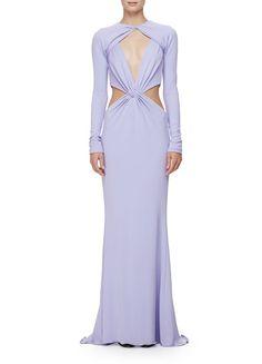 Cushnie et Ochs Long-Sleeve Twisted-Knot Column Gown, Lavender