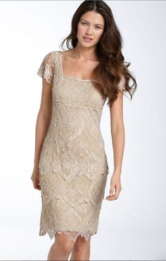 Pisarro Nights Beaded Tiered Shift Dress champagne Wedding Cap Sleeve Sassy1.8