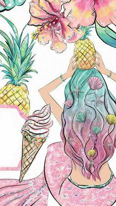 Wallpaper Disney Backgrounds The Little Mermaid Mermaid Wallpaper Backgrounds, Unicornios Wallpaper, Mermaid Wallpapers, Cute Wallpapers, Unicorns And Mermaids, Mermaids And Mermen, Mermaid Drawings, Mermaid Art, Art Pop