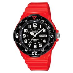 Casio Men's Dive Style Watch - Glossy Red (MRW200HC-4BVCF), Size: Large