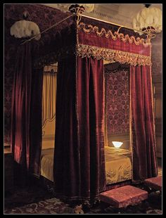Pure silk broadloom damask woven in deep burgundy for the Rose bed and dressing room window drapes. Royal Bedroom, Bedroom Red, Bedroom Decor, Design Studio, House Design, Design Design, Damask Decor, Common Room, Red Rooms