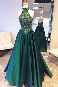 Green satins halter see-through beading backless long dress,evening