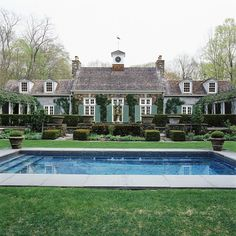 Country home. Sage green home, wood shingles, dormers, ivy, pool. David Easton's former home Outdoor Spaces, Outdoor Living, Living Pool, Pool Houses, Jacuzzi, Architecture Details, Classical Architecture, My Dream Home, Curb Appeal