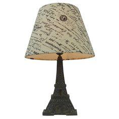Simple Designs Paris Eiffel Tower Lamp and Printed Shade