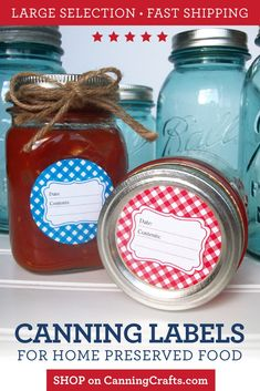 Giveaway: Jar Labels from CanningCrafts – Food in Jars Jam Jar Labels, Canning Jar Labels, Mason Jar Lids, Jelly Jars, Meals In A Jar, Jar Gifts, Printing Labels, Things To Sell, Pantry Storage