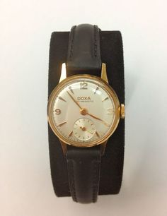 DOXA 14k Gold Watch!!! Leather Strap Vintage NEVER GO OUT OF STYLE