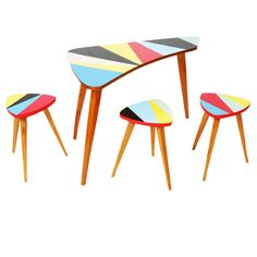 czech mid-century children's table and 3 stools