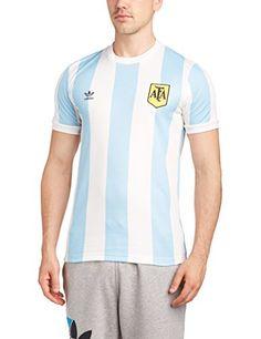 Camiseta retro de la equipación de fútbol de Argentina. Marca Adidas. Color azul  cielo 89f97661f99
