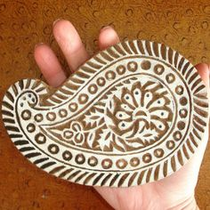 Paisley Stamp: Hand Carved Stamp, Flower Stamp, Wood Printing Block, Wooden Stamp from India, Indian Art