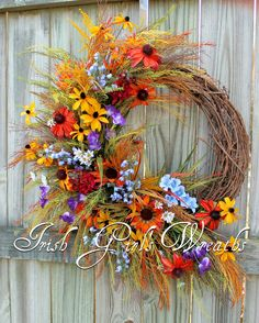 Black Hills Great Plains Wildflower Wreath, Summer Floral, Prairie Grass, Black Eyed Susans, Blue Bonnets, BellFlowers