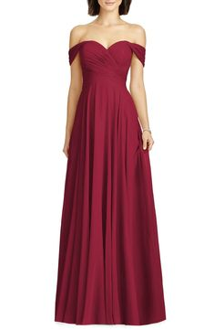 58488278f79 Dessy Collection Lux Off the Shoulder Chiffon Gown