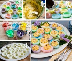 Rainbow Devilled Eggs
