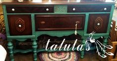Old painted buffet -- so pretty tho I would do a white or other light neutral color other than the teal-ish color