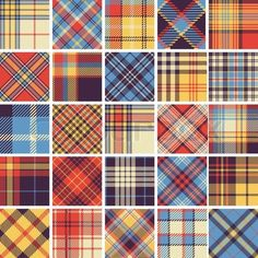 Big set of seamless tartan patterns - Stock Vector , Textile Pattern Design, Textile Patterns, Fabric Design, Tweed, Dobby Weave, Tartan Pattern, Scottish Tartans, Plaid Fabric, Weaving Patterns