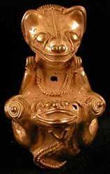 Pre-Columbian Art / Tairona Gold Pendant of a Jaguar Giving Birth