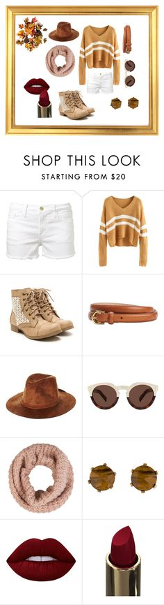 """""""Simple autumn set"""" by elaay ❤ liked on Polyvore featuring Frame Denim, Brixton, Illesteva, Accessorize, Stephen Dweck, Lime Crime and Improvements"""