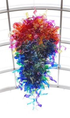 Horizon Art Club - 7th through 9th graders made this sculpture based on Dale Chihuly's work.  It's absolutely fantastic!!!!