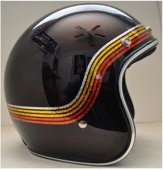 Gloss black 3/4 Biltwell helmet with metallflake silver, gold and broze stripes
