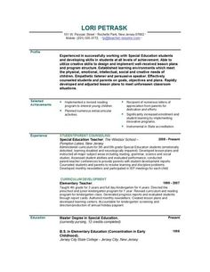 Resumes Template 15 Example First Year Teacher Resume  Sample Resumes  Sample